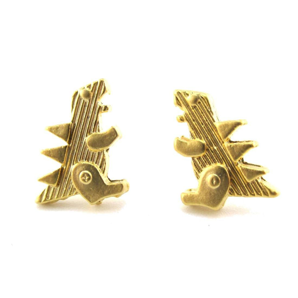 Small Godzilla Shaped Dinosaur Stud Earrings in Gold
