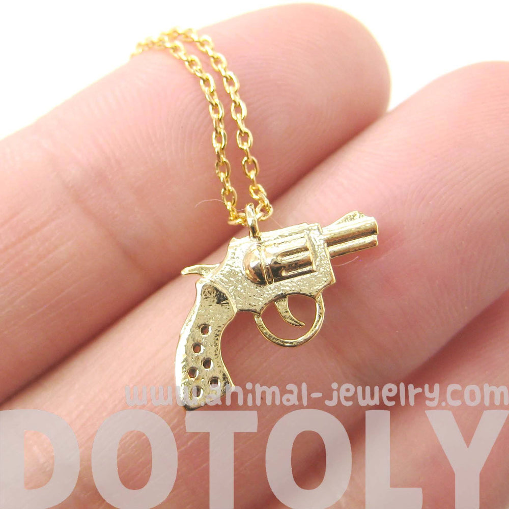 Small Gun Pistol Revolver Shaped Charm Necklace in Gold | DOTOLY