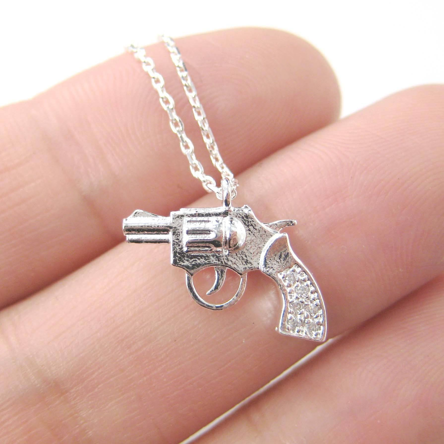 Small Gun Pistol Revolver Shaped Charm Necklace in Silver | DOTOLY