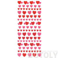 Small Heart Shaped Smiley Face Scrapbooking Stickers in Pink and Red