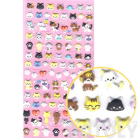 Small Kitty Cat Face Shaped Animal Puffy Scrapbook Sticker Seals
