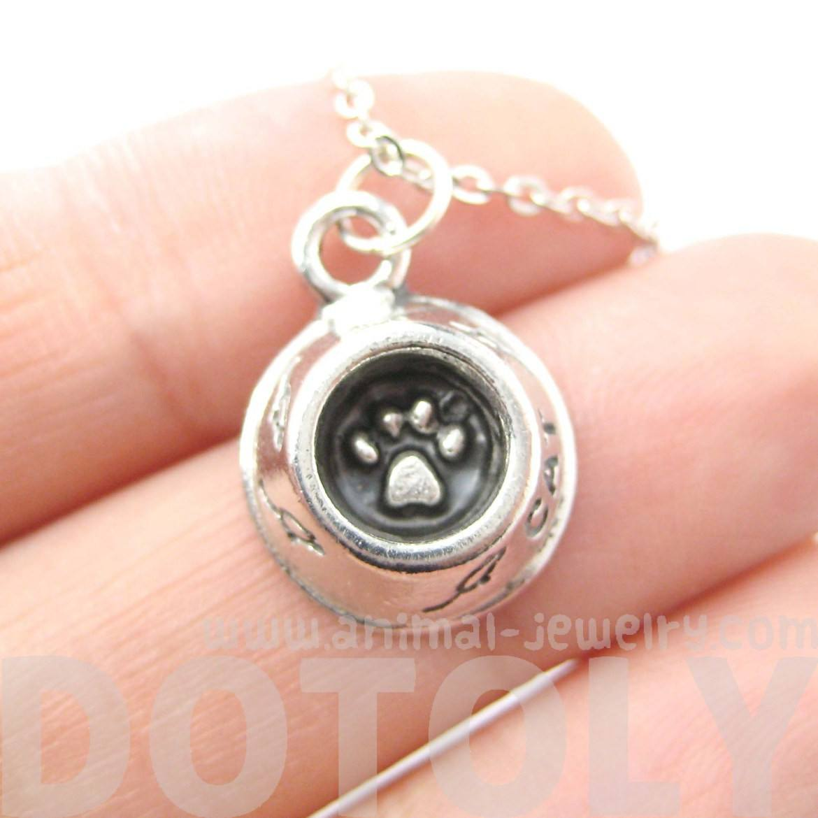 Kitty Cat Paw Print Food Bowl Charm Necklace in Silver | MADE IN USA