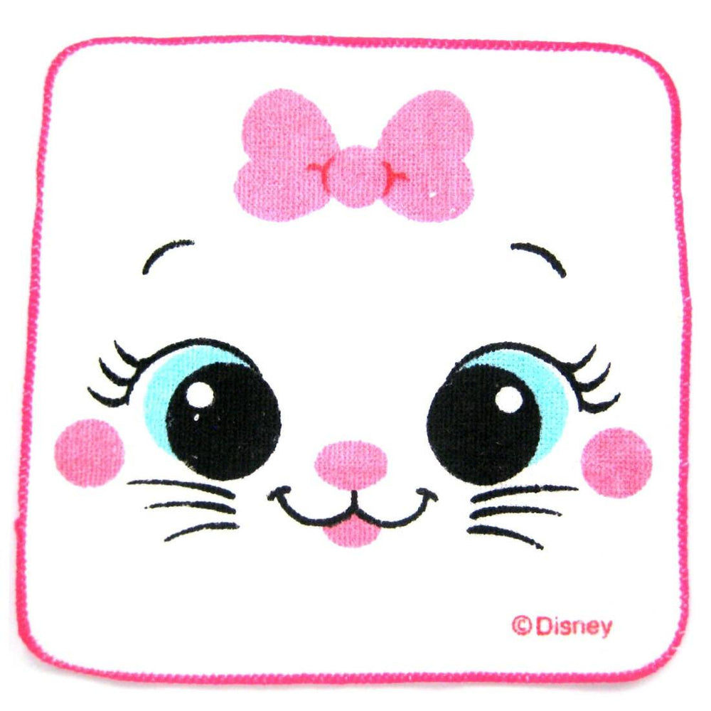 Small Marie Aristocats Cat Face Bow Tie Print Handkerchief Face Towel
