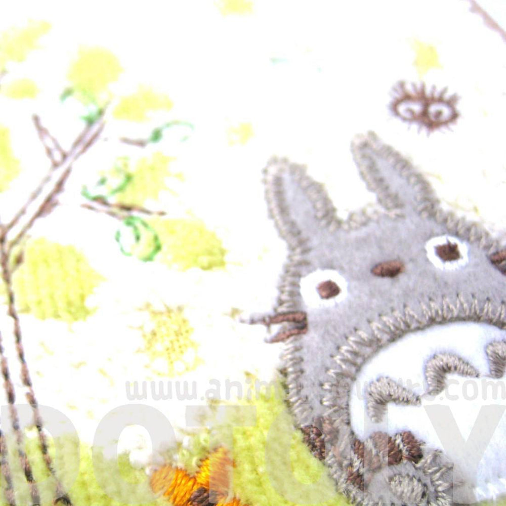 Small My Neighbor Totoro Embroidered Wash Scrub Towel in Light Green