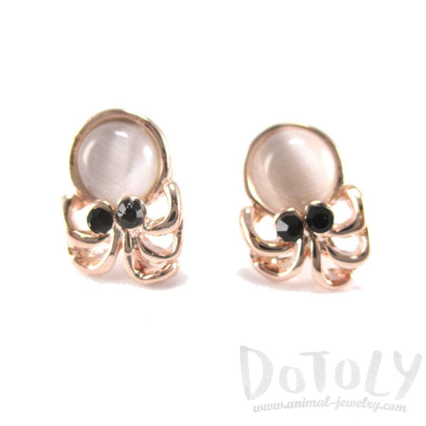 Small Octopus Squid Shaped Stud Earrings in Rose Gold