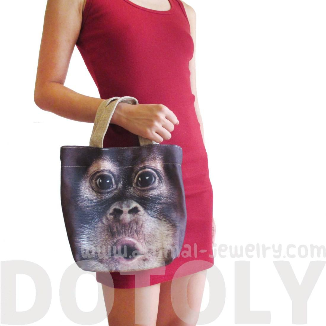 Small Orangutan Monkey Face Print Fabric Lunch Tote Bag