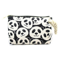 Small Panda Bear Collage Print Shaped Clutch Make Up Bag with Wrist Strap | DOTOLY