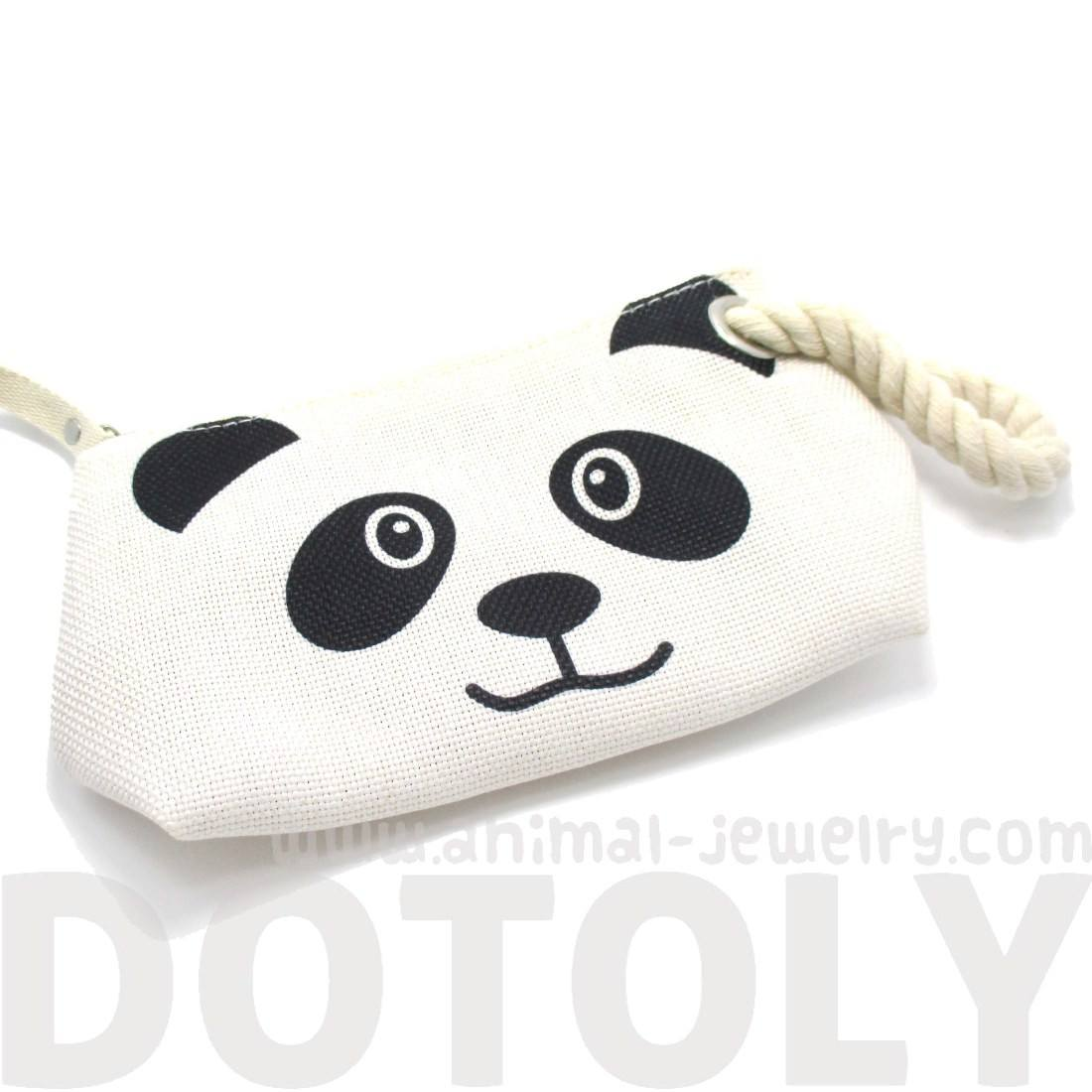 Panda Bear Shaped Clutch Make Up Bag with Wrist Strap