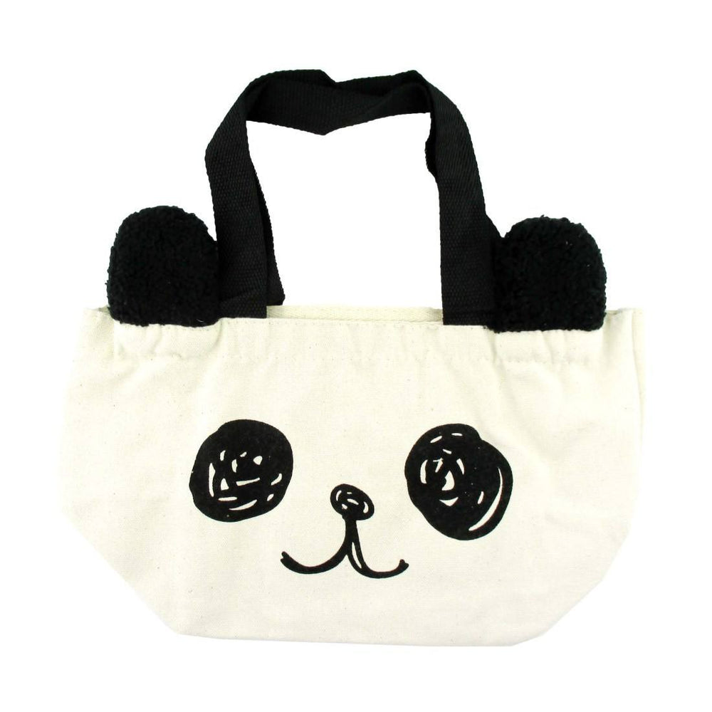 Small Panda Bear Face Shaped Fabric Lunch Tote Bag