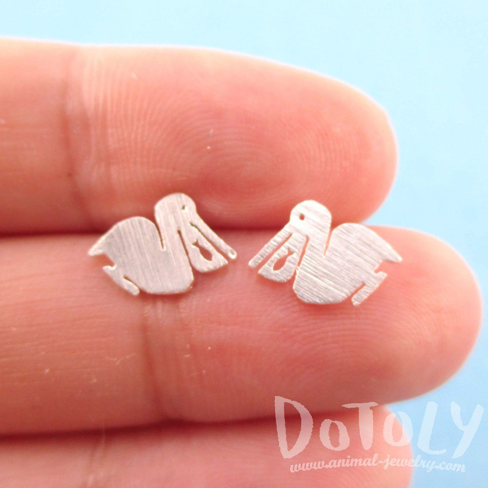 Pelican Silhouette with Fish Cut Out Shaped Stud Earrings in Silver