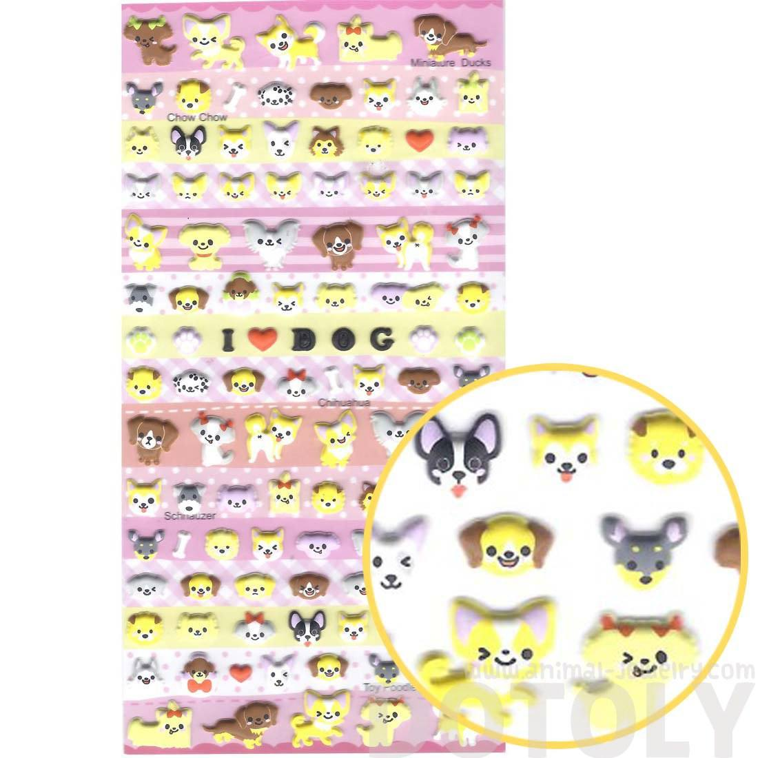 Small Puppy Dog Face Shaped Animal Puffy Scrapbook Sticker Seals