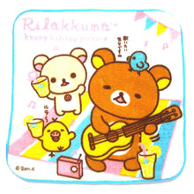 Small Rilakkuma Bear Playing Guitar Picnic Print Handkerchief Towel