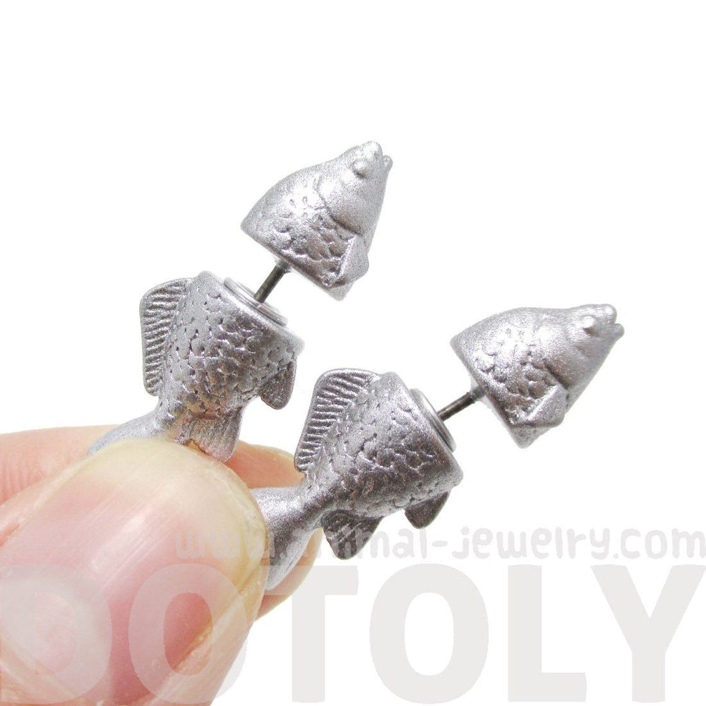Small Salmon Trout Fish Shaped Front and Back Stud Earrings in Shiny Silver | DOTOLY