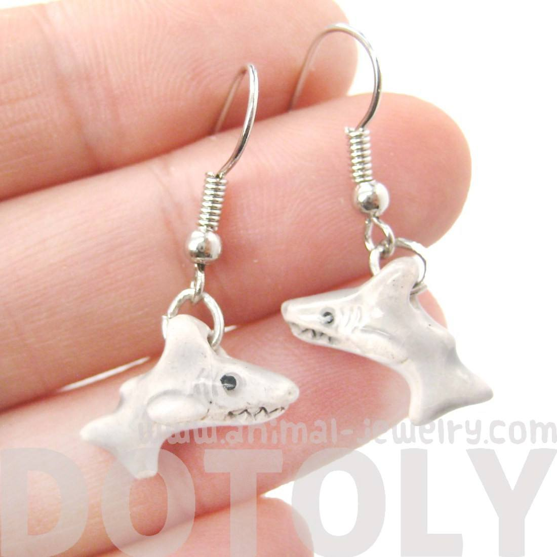 Small Shark Shaped Porcelain Ceramic Animal Dangle Earrings | Handmade