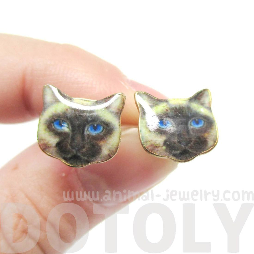 Small Siamese Kitty Cat Face Shaped Stud Earrings