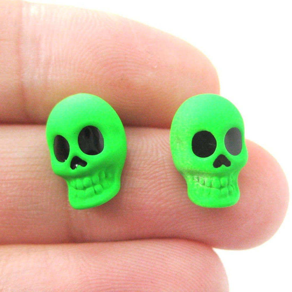 Small Skull Shaped Skeleton Themed Unisex Stud Earrings in Neon Green