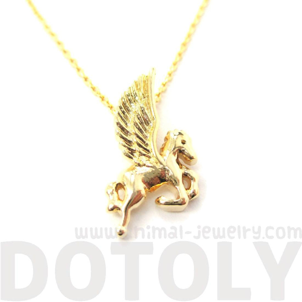 Small Unicorn Pegasus Shaped Charm Necklace in Gold