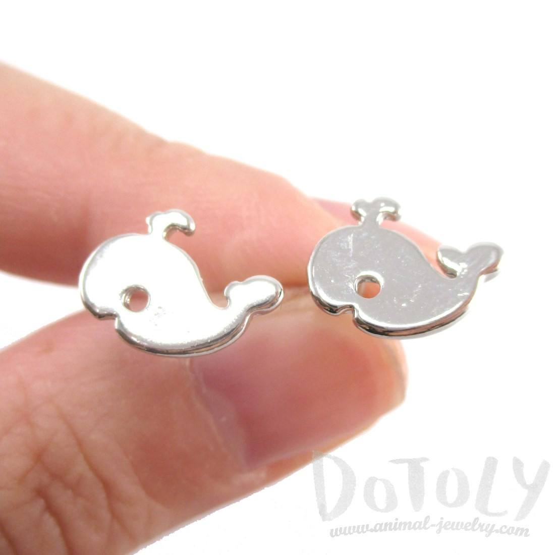 Small Whale Silhouette Shaped Stud Earrings in Silver