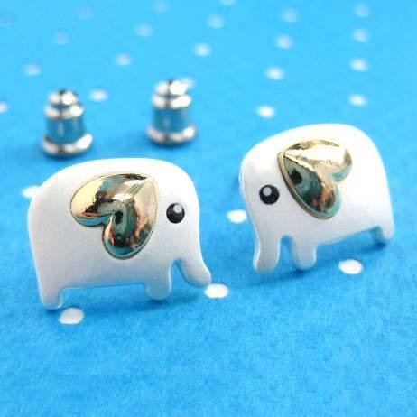 Baby Elephant Shaped Animal Stud Earring in Silver with Heart Shaped Ears | DOTOLY