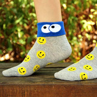 Smiley Face Googly Eye Flip Short Cotton Socks for Women in Grey | DOTOLY | DOTOLY