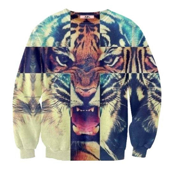 Snow Bengal Tiger Cross Face Graphic Print Unisex Pullover Sweatshirt | DOTOLY