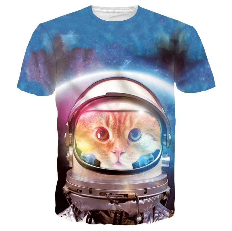 Space Cat Astronaut Kitten Galaxy Universe Print Tee