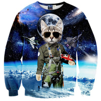 Space Kitty Cat Fighter Jet Nebula Stars Print Sweater
