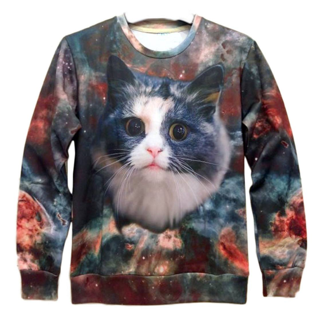 Space Kitty Universe Graphic Print Crew Neck Sweater for Cat Lovers