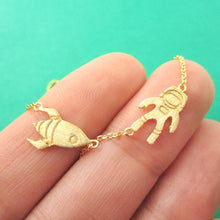 Spaceship and Astronaut Space Themed Necklace in Gold