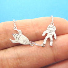 Spaceship and Astronaut Space Themed Necklace in Silver