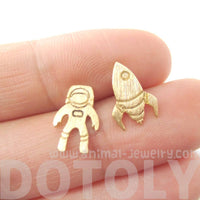 Spaceship Astronaut Space Themed Stud Earrings in Gold