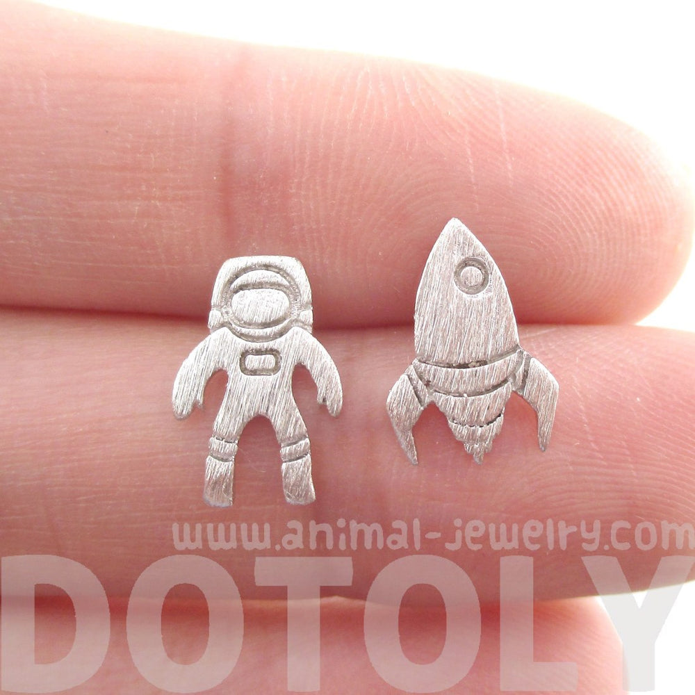 Spaceship Astronaut Space Theme Stud Earrings in Silver