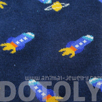 Spaceship Space Craft Universe Themed Socks in Blue