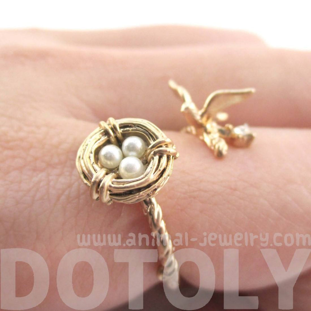Sparrow Bird Nest on A Branch Ring in Antique Gold