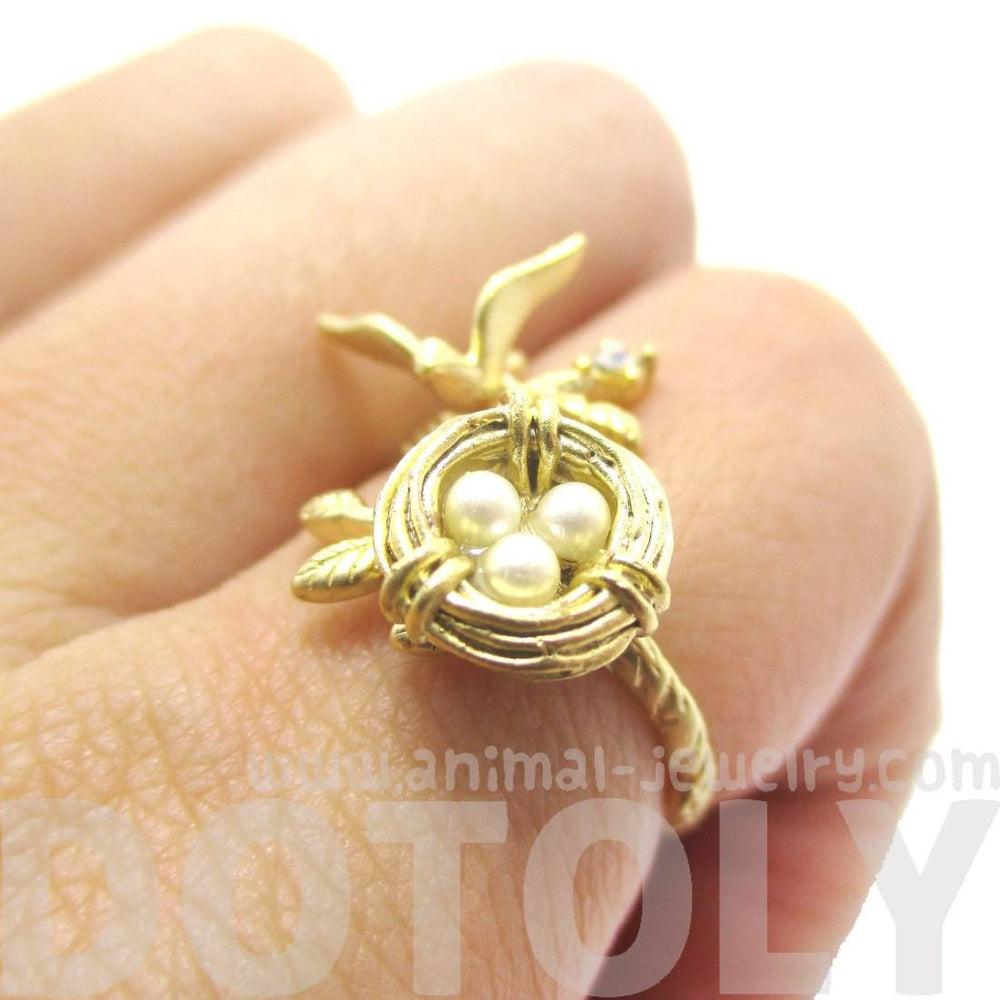Sparrow and Bird Nest on A Branch Ring in Gold