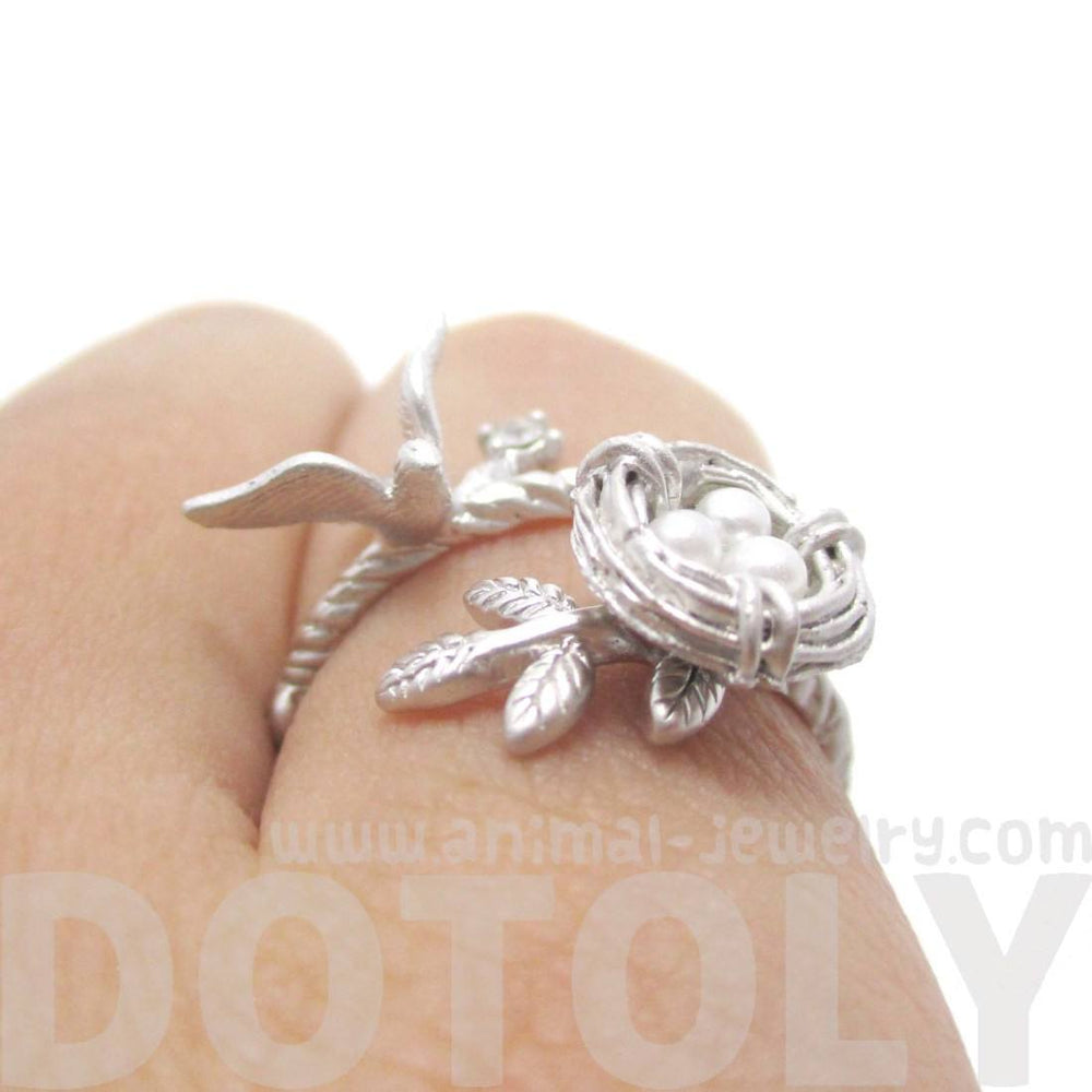 Sparrow and Bird Nest on A Branch Ring in Silver