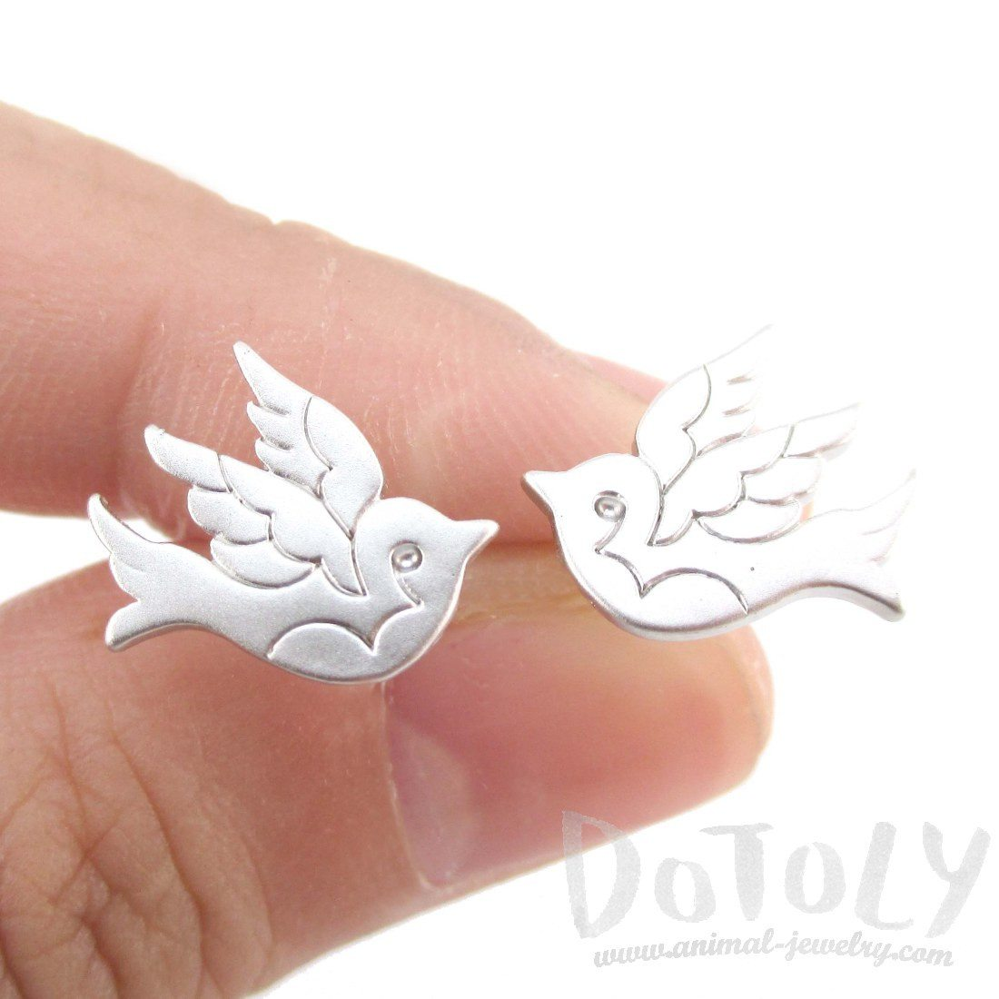 Sparrow Bird Tattoo Shaped Stud Earrings in Silver
