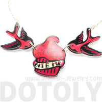 Sparrow Birds Bite Me Cupcake Shaped Tattoo Inspired Acrylic Necklace