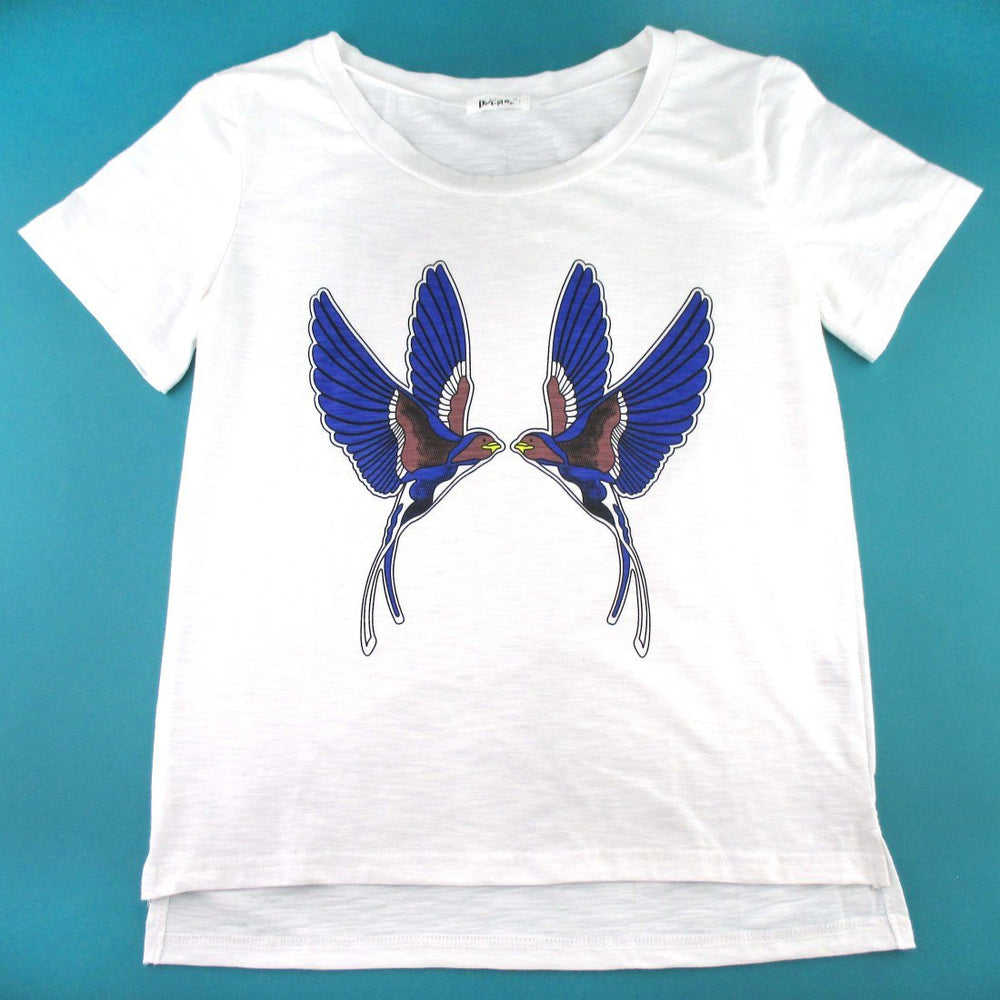 Sparrow Love Birds Tattoo Graphic Print T-Shirt in White | DOTOLY