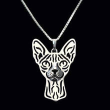 Sphynx Kitty Cat Face Cut Out Shaped Pendant Necklace