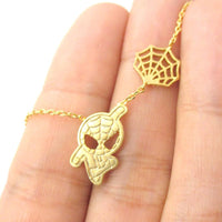Small Spider-Man Shaped Charm Necklace in Gold | Marvel Super Heroes