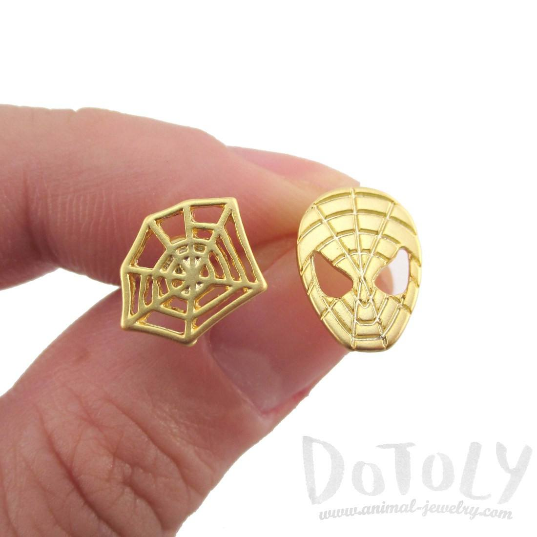 Spider-Man and Web Shaped Stud Earrings in Gold | Marvel Super Heroes