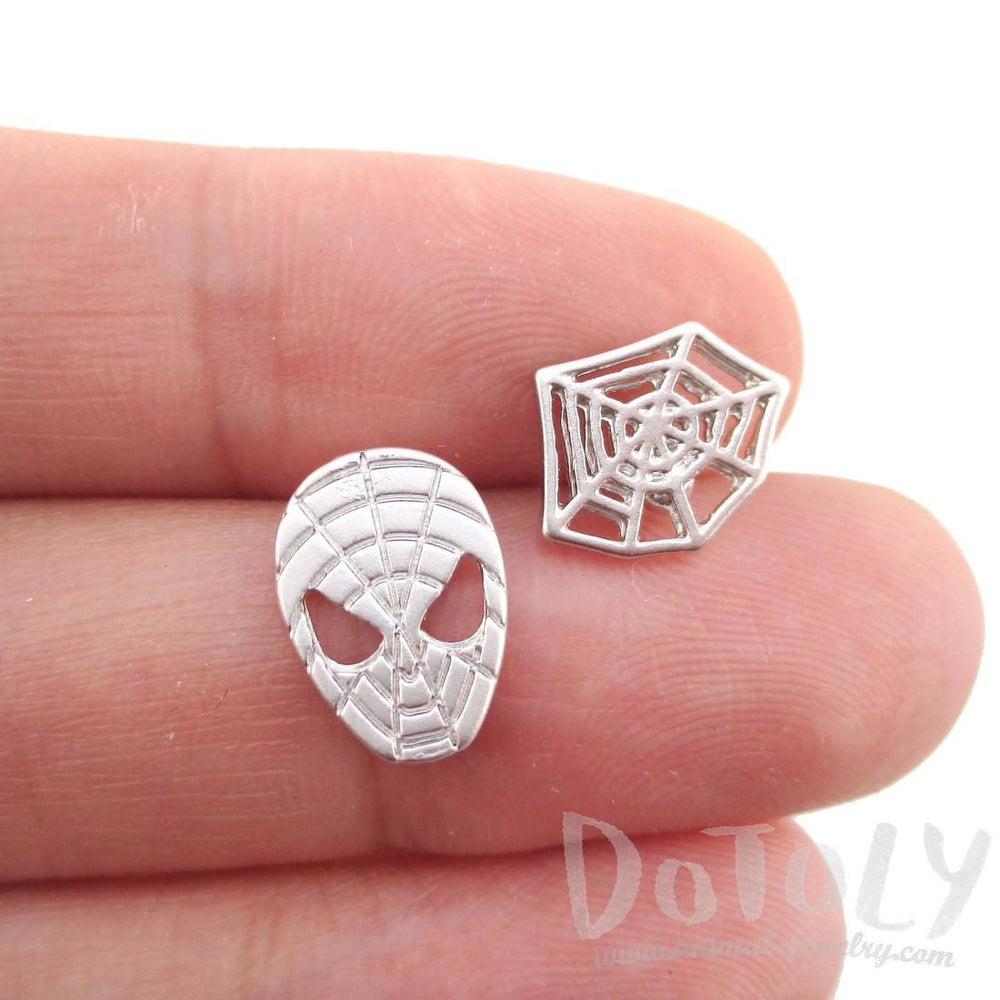 Spider-Man and Web Shaped Stud Earrings in Silver | DOTOLY