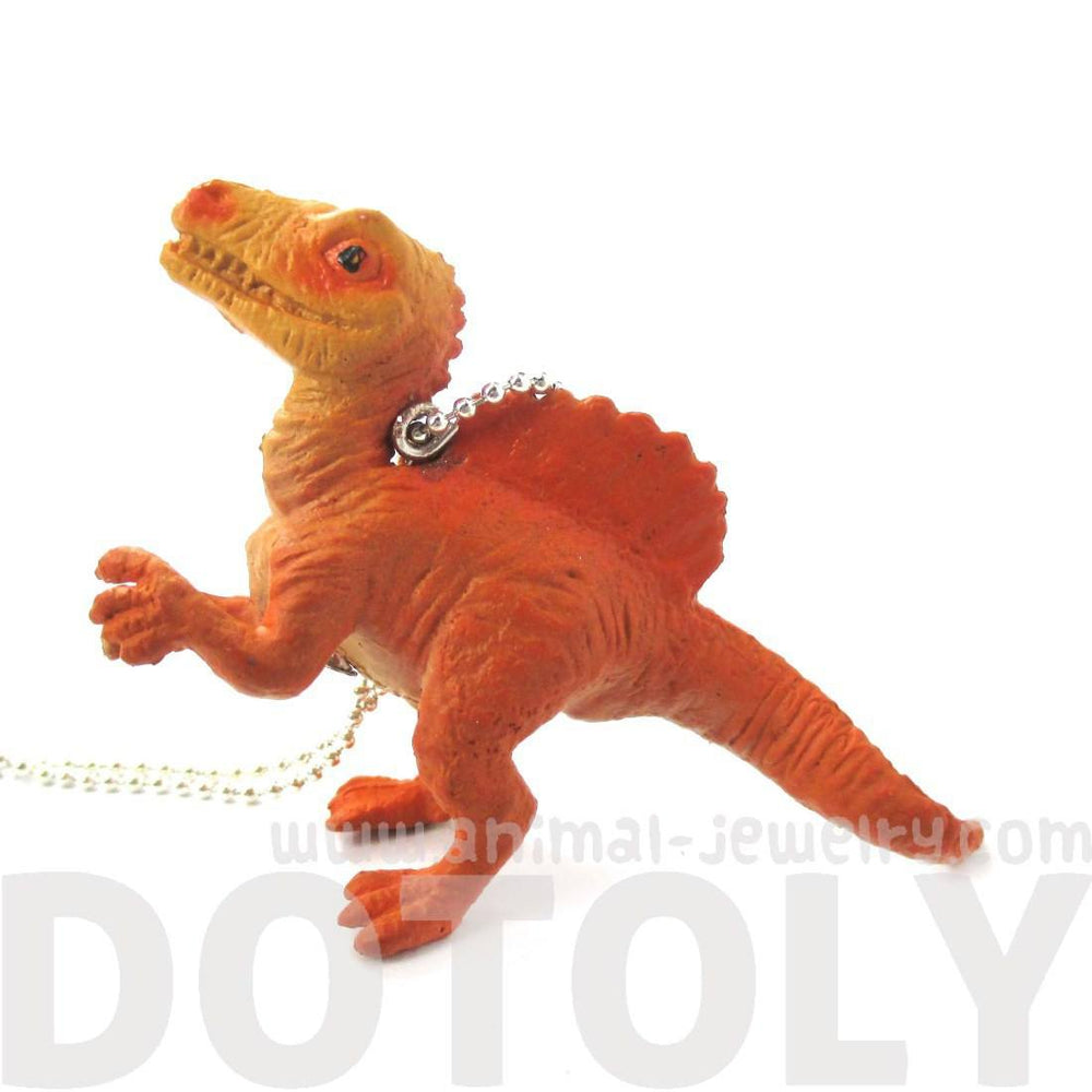 Spinosaurus Dinosaur Shaped Figurine Pendant Necklace in Orange