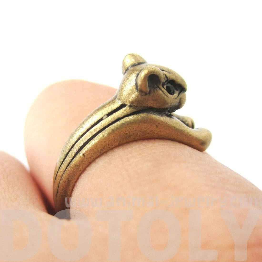 Squirrel Chipmunk Shaped Animal Wrap Ring in Brass | Animal Jewelry
