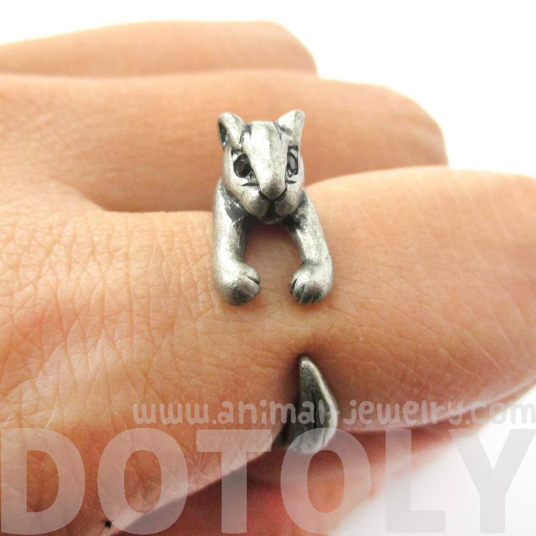 Squirrel Chipmunk Shaped Animal Wrap Ring in Silver | Animal Jewelry