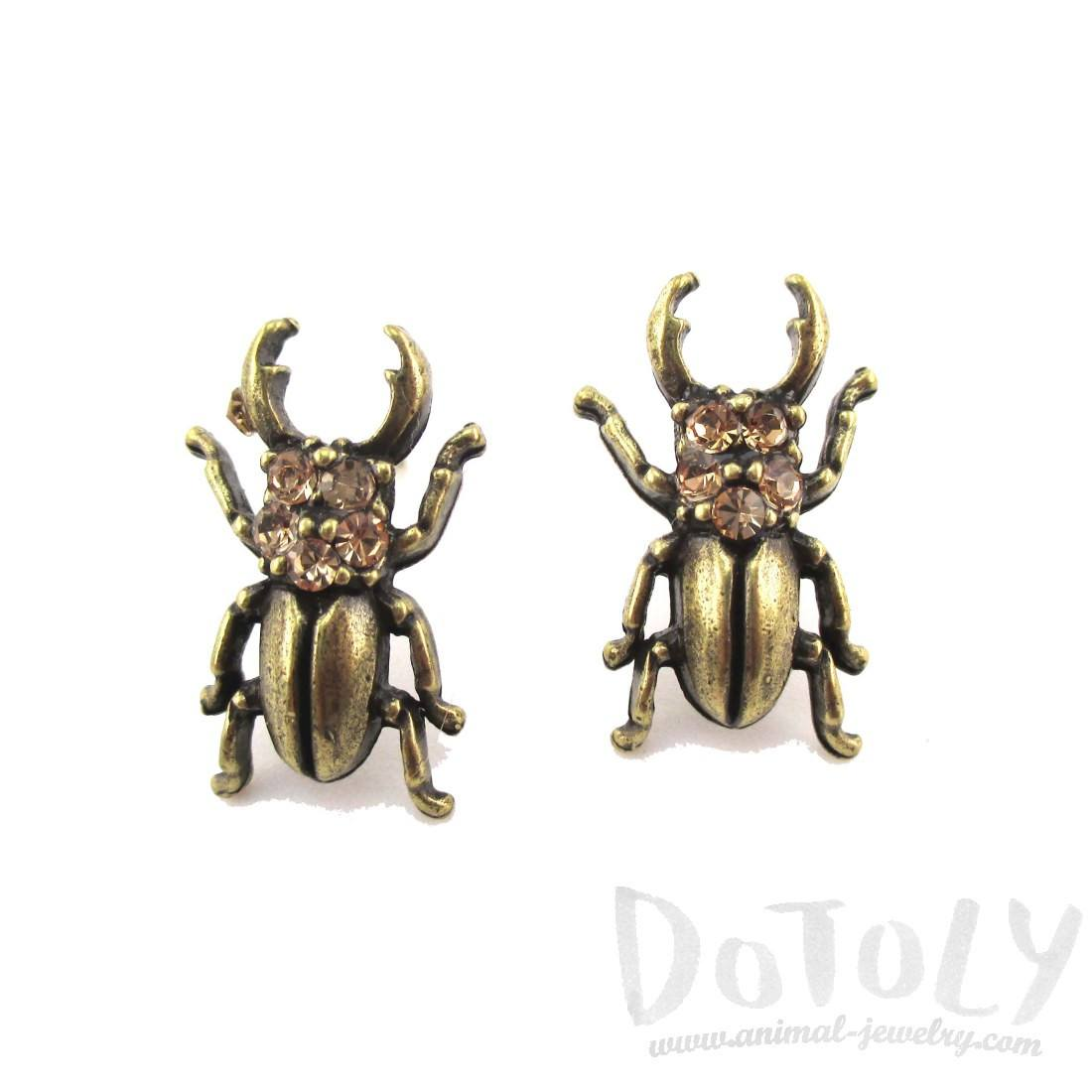 Stag Beetle with Pincers Shaped Rhinestone Stud Earrings in Brass