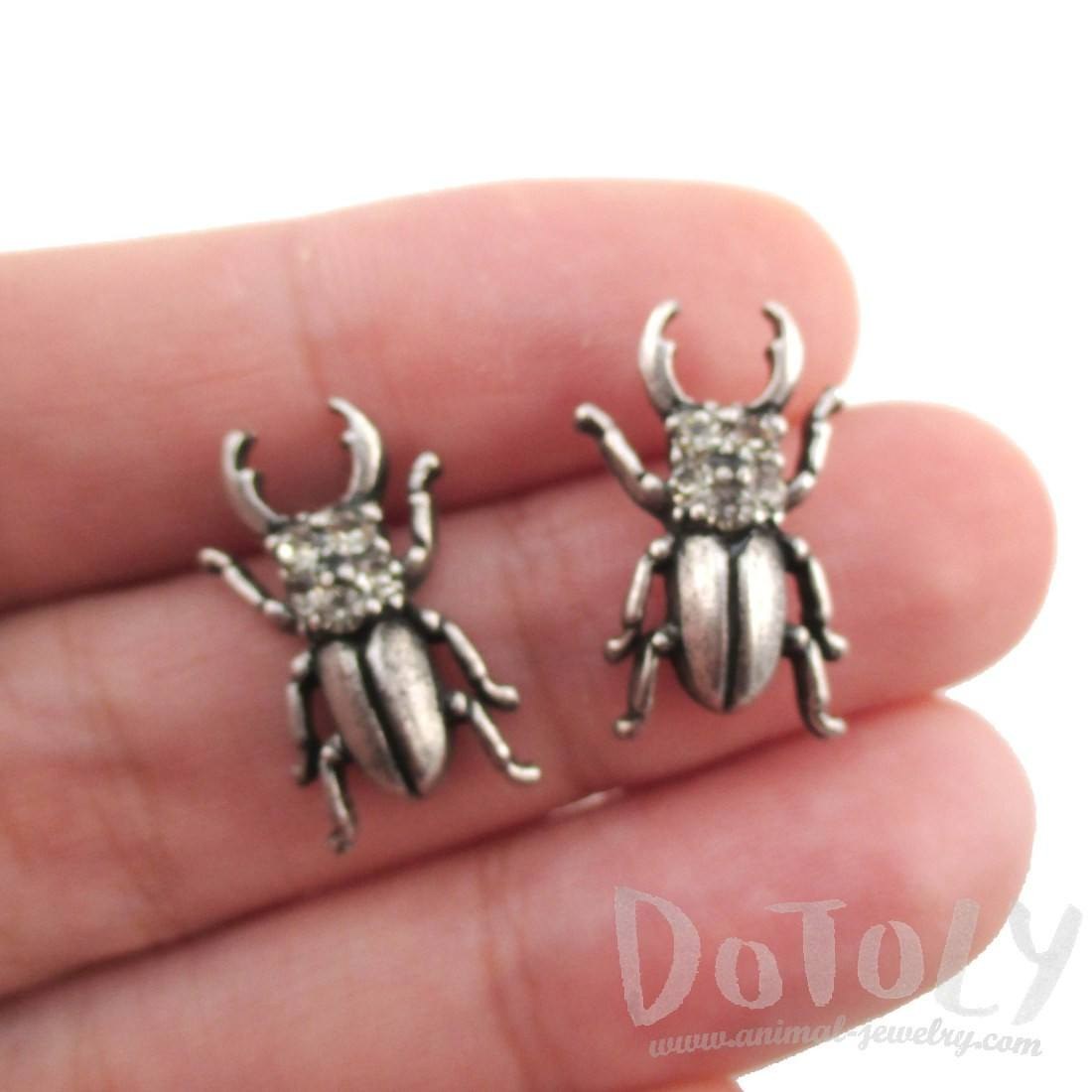 Stag Beetle with Pincers Shaped Rhinestone Stud Earrings in Silver