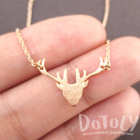 Stag Deer Doe Silhouette Shaped Pendant Necklace in Rose Gold | Animal Jewelry | DOTOLY