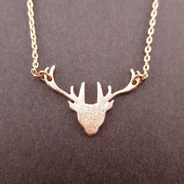 Stag Deer Doe Silhouette Shaped Pendant Necklace in Rose Gold | DOTOLY
